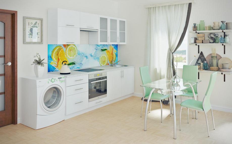 Белая кухня с фрезой в деревянном стиле.