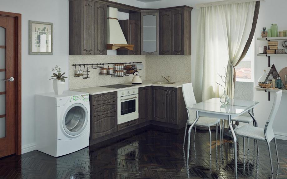 Маленькая угловая кухня под дерево, темного цвета.
