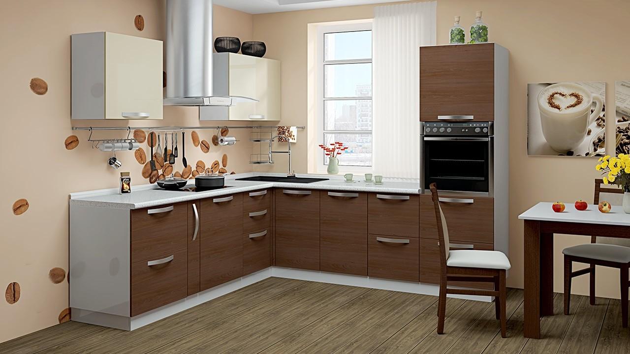 Дизайн кухни в цвета капучино фото