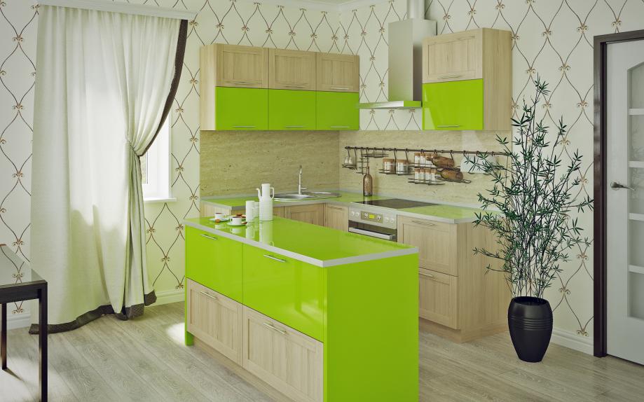 Кухня с барной стойкой под дерево с акцентом зеленого цвета.