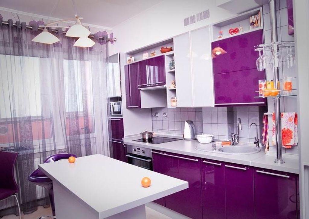 Сиреневые кухни дизайн с