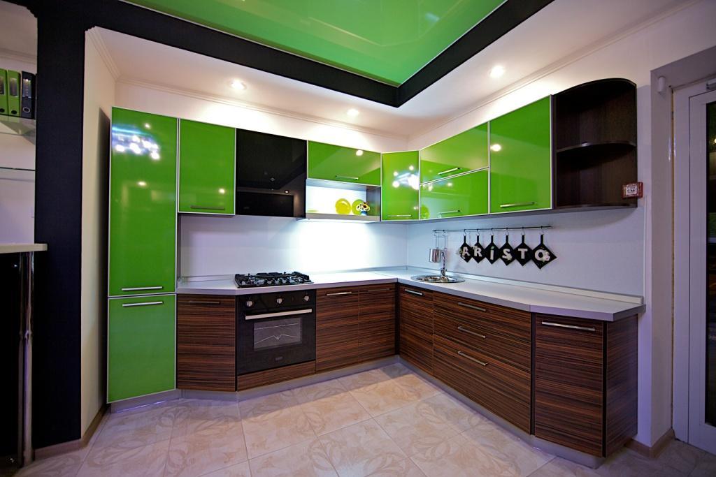 Дизайн кухни в стиле хай тек угловая