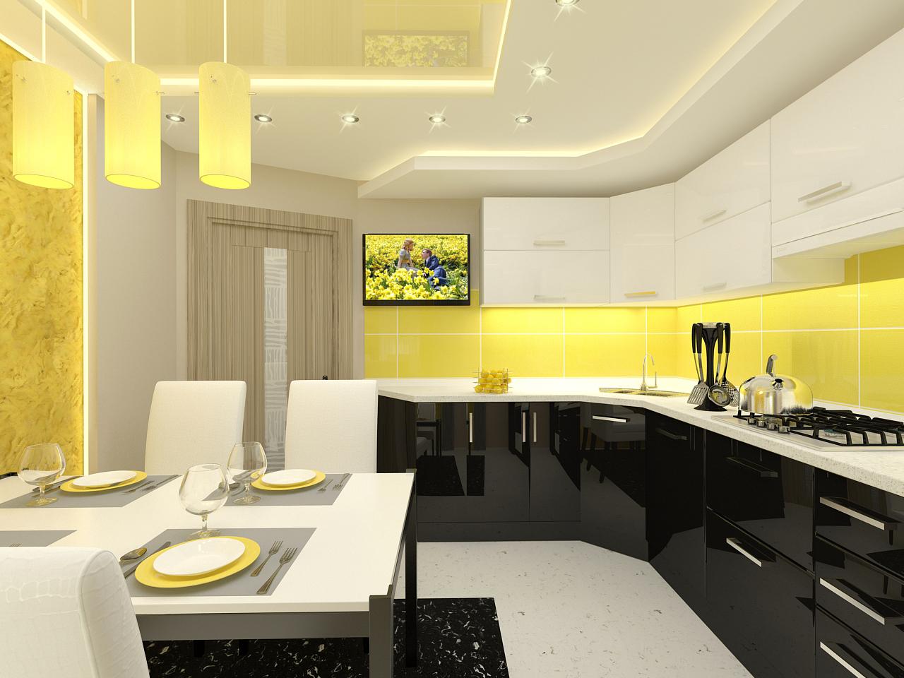 Черно-белая кухня фото интерьер