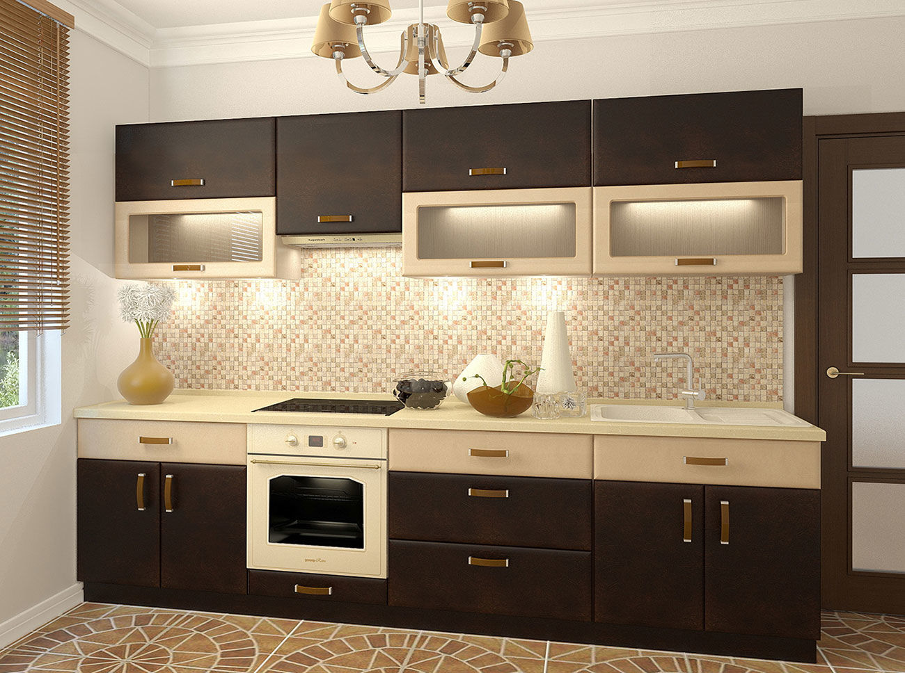 кухни с коричневыми фасадами