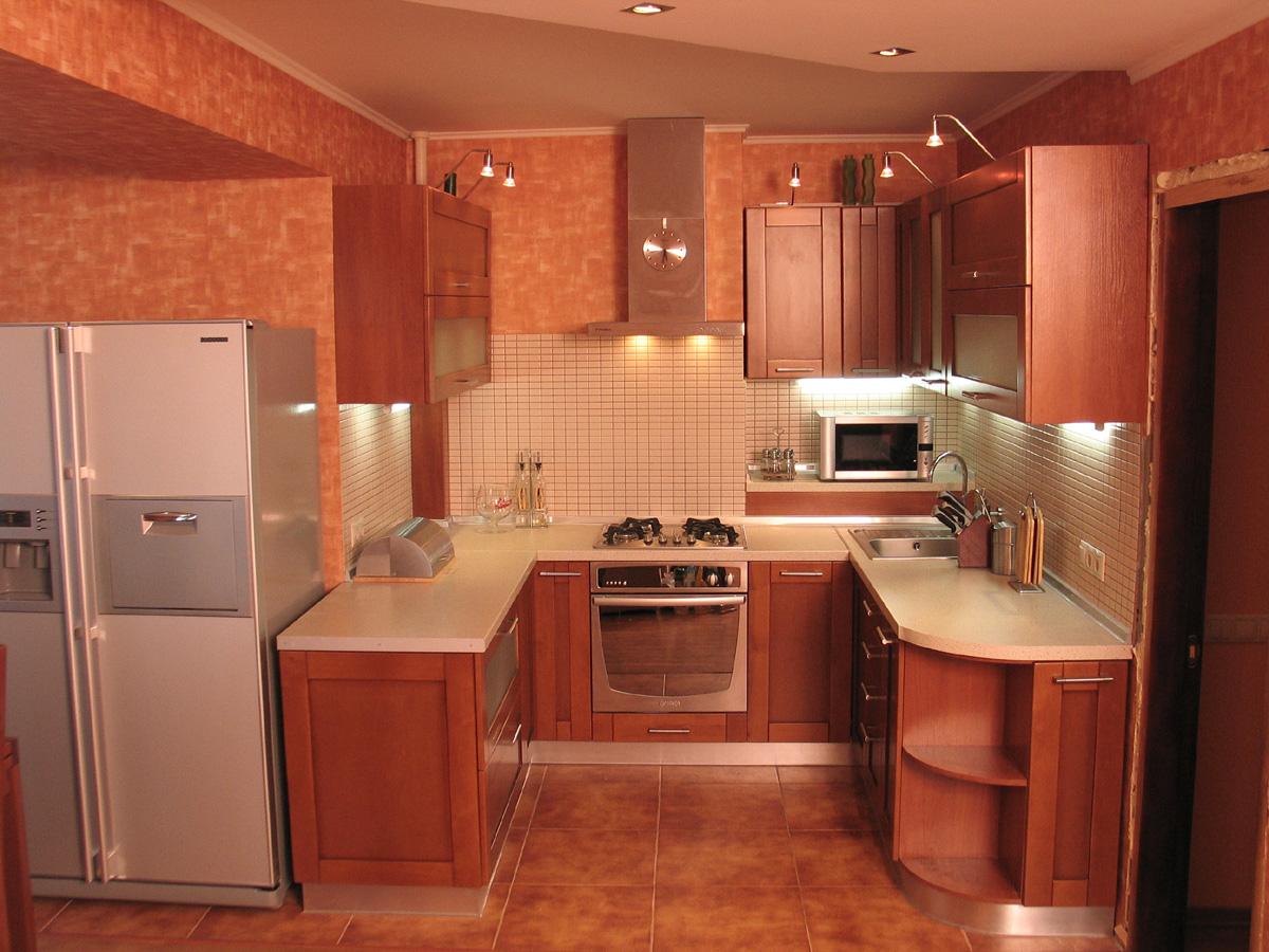 Интерьер п-образной кухни фото