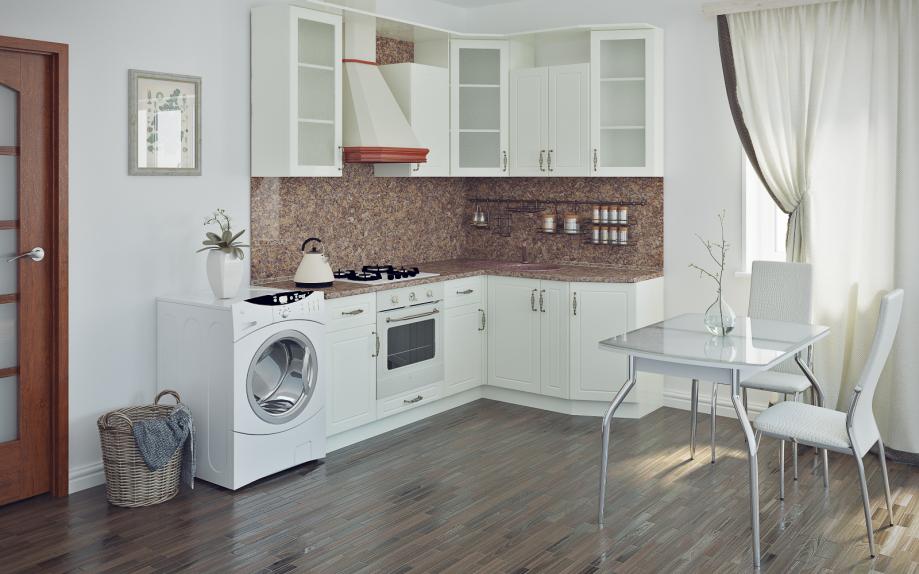 фото кухни белой угловой классической на заказ