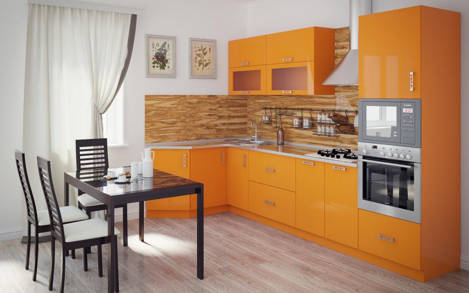 кухня угловая оранжевая, модерн на заказ купить