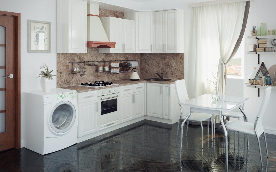 кухня угловая, белая на заказ в спб. Фреза + патина