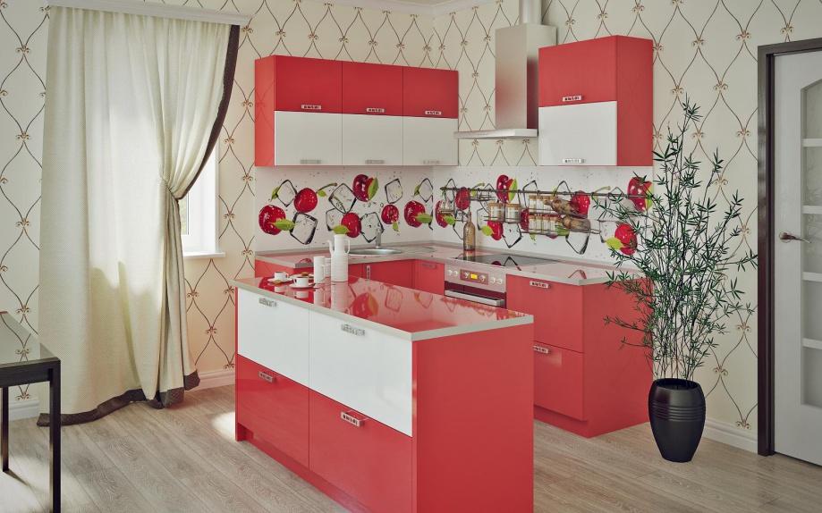 угловая кухня с островом, красная, своременного стиля на заказ