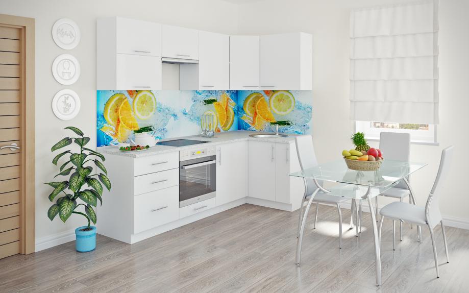 кухня угловая белая с голубым фартуком на заказ