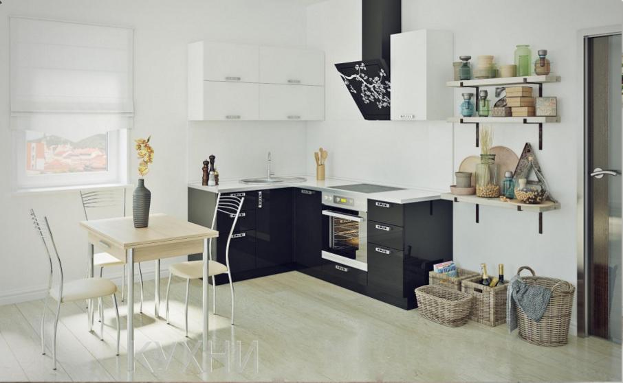 Кухня современная черно-белая.