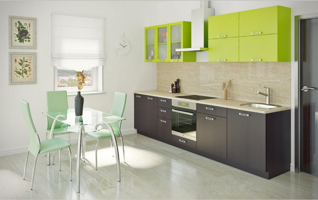 Кухня современного стиля. Верх лайм, низ- под дерево. Эконом-класс хорошего качества.