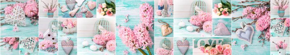 стеновые панели розовые цветы