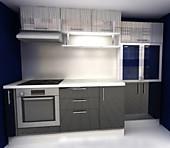 Кухня № 45 Кухня суперглянец Черный/Белый дождь 2550  33140 р по Акции цена 30820 р.