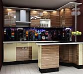Кухня № 39 Кухня ДСП глянец Макасар/Бежевый 2500х1860 25210 р по Акции цена 23445 р.