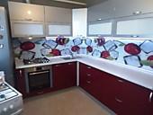 Кухонный гарнитур № 212 пластик HPL/глянец/серый металлик/бордо. Цена: 55400 руб.
