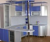 Кухонный гарнитур № 213 пластик HPL/серый металлик/глянец/голубой/с барной стойкой. Цена: 85600 руб.