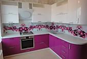 Кухонный гарнитур № 206 мдф/глянец/белый/розовый. Цена: 69800 руб.