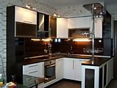 Кухня № 193 угловая с барной стойкой МДФ белый с венге  17500 р.