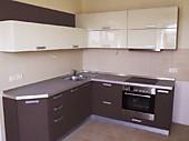 Кухня №190 угловая пластиковая из МДФ Бежевый глянец 10500 р.