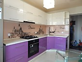 Кухня № 192 угловая пластик бежевый/сирень 42000 руб.