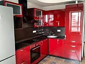 Кухня пластиковая № 195 угловая Красный глянец  15500 р