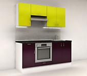 Цена на кухню № 11 Комплект Баклажан 1800 мм - Фасады Пластик 19100 р по Акции цена 17763р.